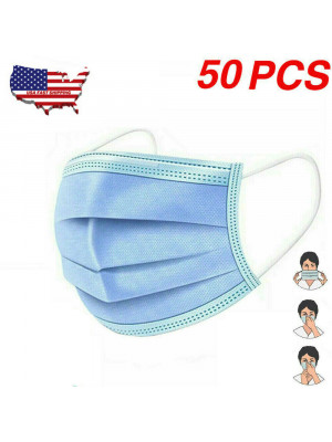 50PCS Disposable Face shield mask Surgical Medical Dental Industrial 3Ply EarLoop US